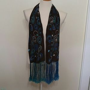 Droplet print silk scarf/belt/hair tie with tassel